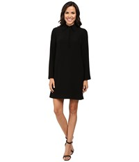 Tahari By Arthur S. Levine Trumpet Sleeve Collared Shift Dress Black Women's Dress