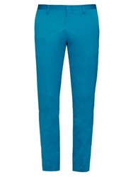 Paul Smith Slim Leg Cotton Blend Trousers Blue