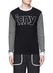 Icny 'Checker' Reflective Print T Shirt Black