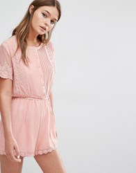 Fashion Union Pretty Romper With Scallop Lace Dusty Pink