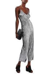 Topshop Women's Strappy Plisse Pleat Crop Jumpsuit Silver