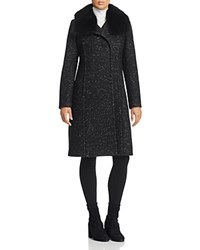 Elie Tahari Anna Fur Trim Coat Black