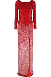 Jenny Packham Sequined Silk Voile Gown Crimson