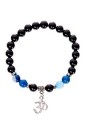 Jean Claude Black Onyx And Blue Agate Bead Om Charm Stretch Bracelet