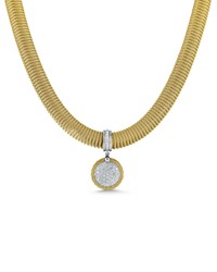 Alor Spring Coil Cable And Round Diamond Pendant Necklace Yellow