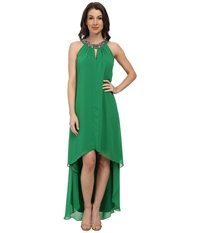 Vince Camuto Hi Lo Chiffon Dress With Beaded Neckband Green Women's Dress