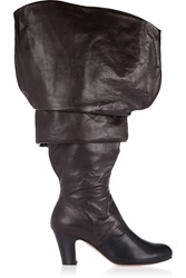Vivienne Westwood Ruched Leather Knee Boots