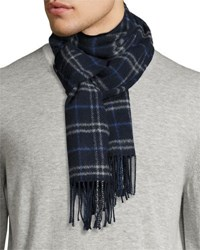 Neiman Marcus Cashmere Plaid Print Boxed Scarf Navy Multi