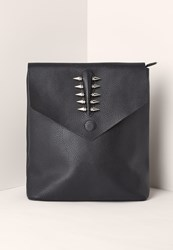 Missguided Black Piercing Trim Faux Leather Backpack