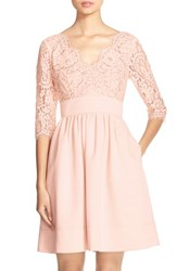 Women's Eliza J Lace And Faille Dress Light Pink
