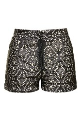 Boho Laser Cut Faux Leather Shorts By Wyldr Black