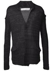 Isabel Benenato Relaxed Open Knit Cardigan Grey