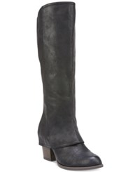 Fergalicious Lundry Wide Calf Cuffed Tall Boots Women's Shoes Black