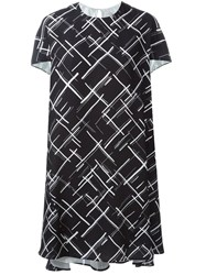 Eggs Crosshatch Print Dress Black