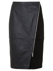 Mint Velvet Leather Diagonal Zip Pencil Skirt Black