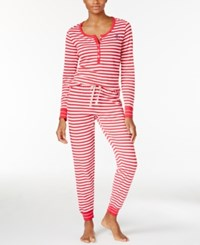 Tommy Hilfiger Thermal Henley Top And Pants Pajama Set Red White Stripe