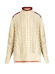 Isabel Marant Edison High Neck Wool Blend Sweater Ivory Multi