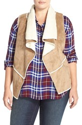 Plus Size Women's Junarose Faux Shearling Vest