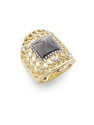 Saks Fifth Avenue Glitz Woven Knuckle Ring Two Tone Gold Silver