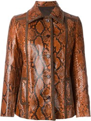 Prada Vintage Python Skin Jacket Yellow And Orange