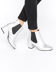 Pull And Bear Pullandbear Metallic Chelsea Heeled Ankle Boot Silver