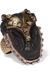 Valentino Burnished Gold Plated Ebony Ring Gold Black