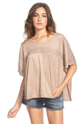 Eyeshadow Lace Inset Faux Suede Tee Juniors Gray