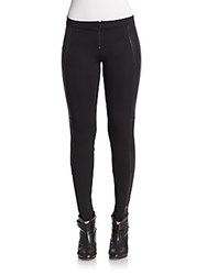 Alice Olivia Leather Trim Leggings Black
