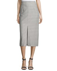Alice Olivia Sabrena Striped Midi Skirt Black White Women's Size 0