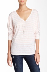 Candc California 3 4 Length Sleeve Double V Neck Dolman Tee Pink