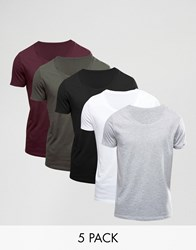 Asos 5 Pack T Shirt With Scoop Neck White Black Grey Mar Multi