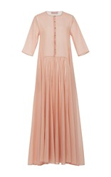 Anna Sammarone Pleated Button Front Maxi Dress Light Pink
