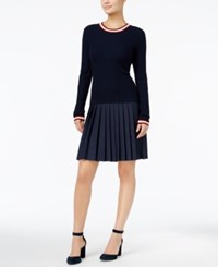 Tommy Hilfiger Ellen Tipped Pleated Dress Only At Macy's Masters Navy Multi