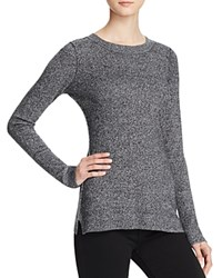 Aqua Cashmere Fitted Crewneck Cashmere Sweater Black White Twist