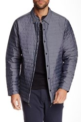 Relwen Snap Button Quilted Waterproof Jacket Blue
