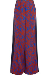 Jonathan Saunders Cici Printed Crepe And Satin Wide Leg Pants Cobalt Blue