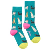 Joules Brill Bamboo Dog Print Ankle Socks Green Multi