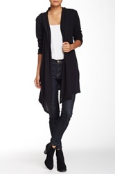 Yuni Hi Lo Hooded Open Drape Cardigan Black