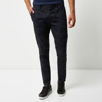 River Island Mens Navy Washed Camo Skinny Chino Trousers