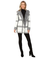 Brigitte Bailey Cherished Plaid Coat Off White Black Women's Coat Multi