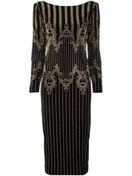 Balmain Studded Baroque Midi Dress Black