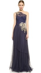 Notte By Marchesa One Shoulder Gown Navy