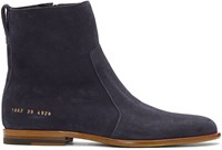 Robert Geller Navy Common Projects Edition Suede Boots