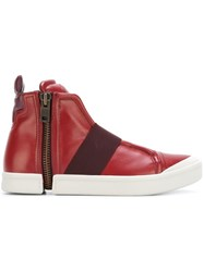 Diesel Side Zip Hi Top Sneakers Red