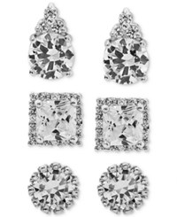 Macy's Giani Bernini 3 Pc. Set Cubic Zirconia Pave Stud Earrings In Sterling Silver Only At