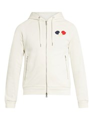 Moncler Logo Applique Zip Through Cotton Sweatshirt White