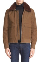 Acne Studios Men's 'Abel' Twill Jacket With Genuine Shearling Collar Green