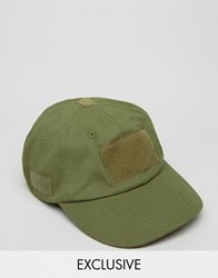 Reclaimed Vintage Baseball Cap With Velcro Green Green