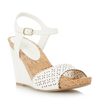Head Over Heels Kelsie Laser Cut Wedge Sandal White