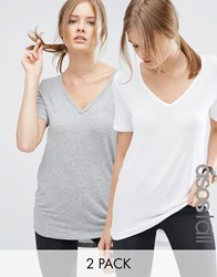 Asos Tall The New Forever T Shirt With Dip Back 2 Pack White Grey Multi